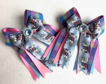 Pony Show Bows - Hair Accessory/SHORTY Flying Ponies Blue Sparkle Gem