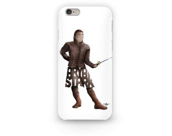 Arya Stark Phone Case Design of Young Stark Wolf from the Game of Thrones Television Series shown on HBO. Arya Stark Holding her Needle