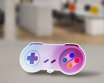 Super Nintendo Entertainment System Controller Sticker Design. SNES Retro Sticker Design that Controlled the Original Zelda Super Mario