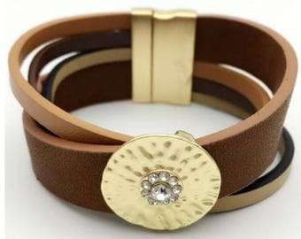 Brown OR black leather magnetic clasp bracelet