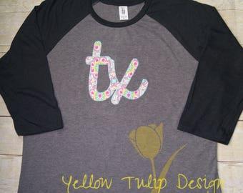 Texas Script 3/4 Sleeve Floral Raglan Women's T-shirt, TX shirt