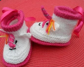 "Baby booties in wool ""Unicorn"" Unicorn (0-3 months)"