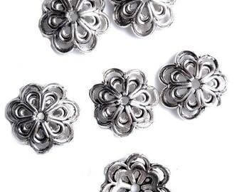 10 large 15mm flower bead caps