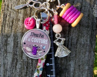 """MINI lucky charm, keychain or purse jewelry """"j"""" can't, I have sewing!"""""""""""