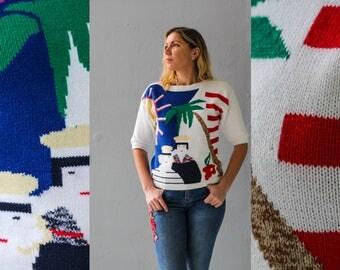 White sweater, Sport jumper, Beach Pullover, Summer jumper , Vintage 80s Sweater, White Pullover, Woman pullover, Beach knitwear / Medium