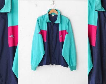 Vintage sports jacket, 90s Active wear, Blue track jacket, Colorblock windbreaker, Vintage jacket, Track jacket, Tracksuit / Medium Large