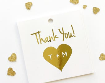 Wedding Favor Tags, Gold Foil Thank You Initials in Heart, Kraft Custom Wedding Tags, Custom Wedding Hang Tags  (SQ-103-F)