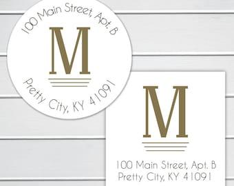 Monogram Return Address Labels, Round Address Stickers, Envelope Seals  (#203)