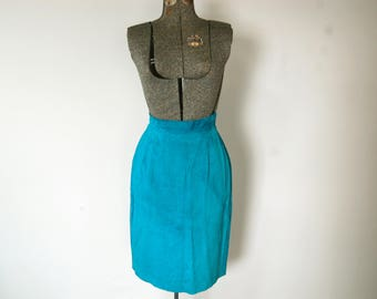 Vintage 1980s Danier Turquoise Blue Suede Leather Midi Skirt (Size 10)