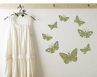 20% OFF Summer Sale Floral Butterflies wall decal, sticker, mural, vinyl wall art