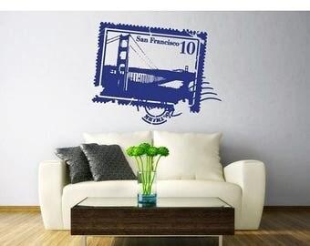 20% OFF Summer Sale San Francisco Stamp wall decal, sticker, mural, vinyl wall art