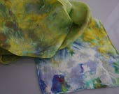 clothing, gifts, hand dyed silk scarf, ice-dyed silk scarf, hand dyed scarf, 100% silk scarf, scarf, scarves, ladies  scarf, , neck scarf