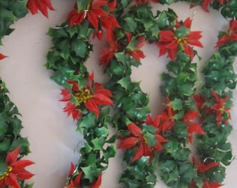 Vintage Holly and Poinsettia Garland