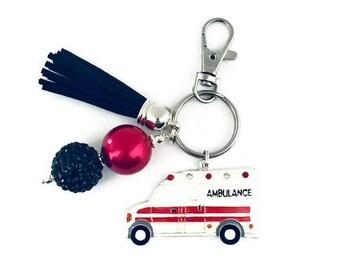 Ambulance Key Chain/First Responder Key Chain/EMT Key Chain/First Responder Gift/Paramedic Key Chain/Planner Charm/Purse Charm