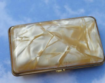 Vintage Mini Cocktail Cigarette Case Lucite and Metal Ladies Evening Purse Item Handbag Trinket Holder Vintage Gift Collectible Tobacciana!
