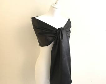 stole evening black satin with 200/50 cm stole wedding/party/christening/cocktail/party season / Christmas