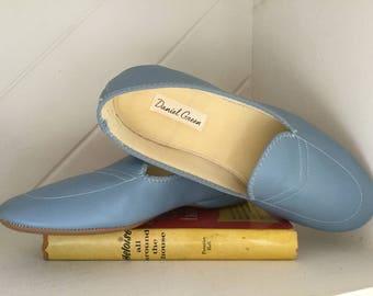 Slippers,Daniel Green, Size8W,Blue Leather Slippers