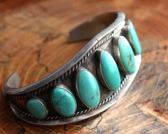 HEAVY Old Pawn Native American Navajo 9 Stone Sleeping Beauty Turquoise Southwestern Sterling Silver Ornate Petit Cuff Bracelet Signed