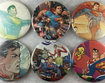 6 pcs, Superman, Magnets, Buttons, Recycled Comic Books, 2.25 Inches, Clark Kent, Fantastic 4, Cartoon, Daily Planet, Superhero, Item #94