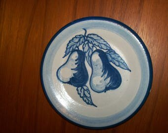 "Vintage Original Dorchester Stoneware Pottery Fruit Pattern Dessert Plate - 7-1/2"" - Pears and Leaves Design - Chipped Edge"