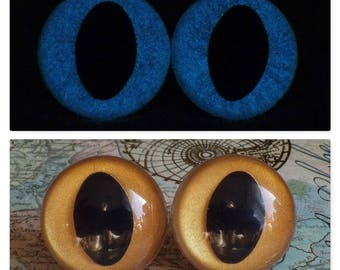 21mm Glow In The Dark Cat Eyes, Metallic Dark Gold Safety Eyes With Blue Glow, 1 Pair of Plastic Safety Eyes