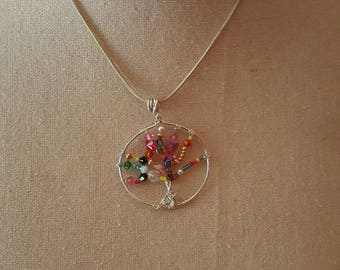 Tree of life wire beaded pendent.