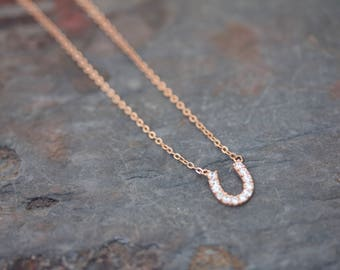 Pave' horseshoe necklace