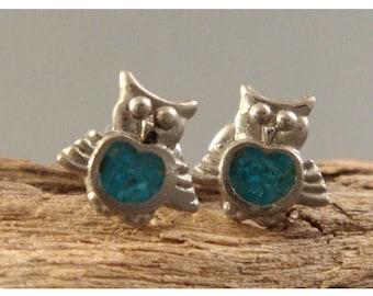 Cute vintage turquoise owl earrings