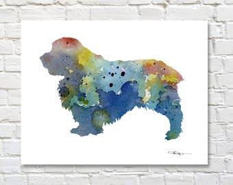 Clumber Spaniel Art Print - Abstract Watercolor Painting - Dog  - Wall Decor