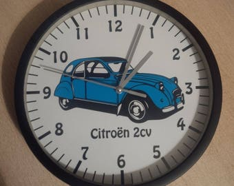clock wall decoration car Citroën 2cv blue
