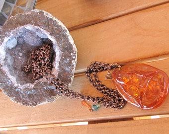 Amber manufactured pendant  Buddha chain