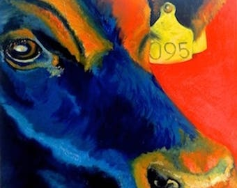 Limited Edition FRAMED PRINT of BULL in orange and blue from original oil painting