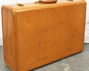 Vtg Samsonite Tan Brown Luggage Hard Case Suitcase Shwayder Denver 26x18x8