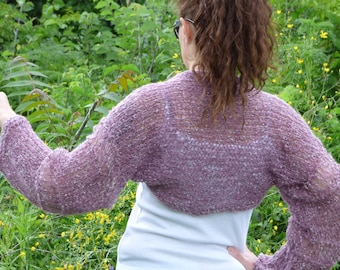 New hand knitted wool/mohair bolero ,handmade shrug