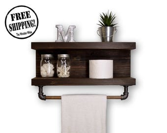 Two Tier Bathroom Shelf With Towel Bar
