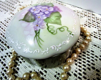 Ring Box Trinket Jewelry Storage Violets Wedding Proposal Hand Painted Porcelain Ceramic