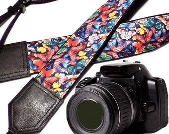 Butterflies camera strap. Cororful camera strap. DSLR & SLR Camera Strap. Gift for her. Camera accessories.