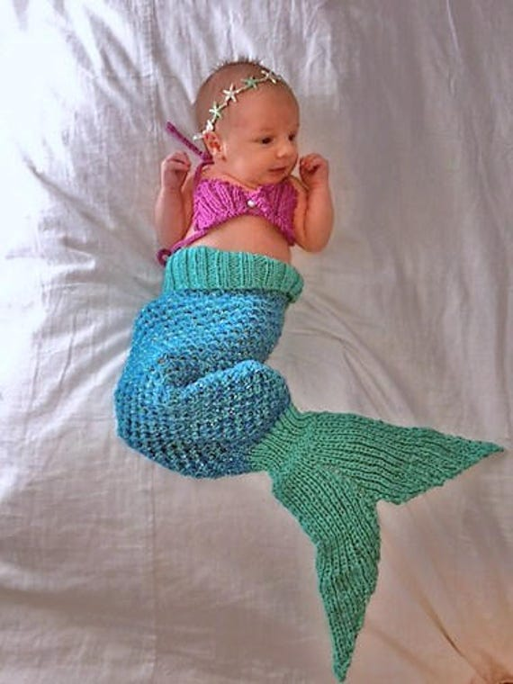 KNITTING PATTERN Baby Mermaid Tail Blanket 5 Sizes, newborn-1 month, 2-6 mont...