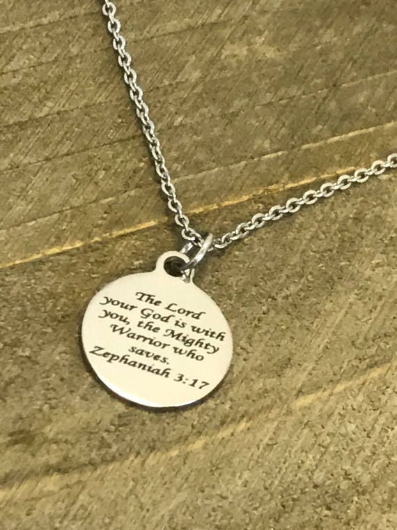Scripture Jewelry, Zeph 3 17 Bible Verse Necklace, The Lord Is With You Necklace, Christian Jewelry, Scripture Gifts, Scripture Necklace