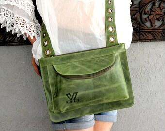 Green Leather Bag, Designer Bag, Crossbody Bag, Women's Handbag, iPad Bag, Messenger Bag, Handmade Tote, Leather purse, Medium Travel Bag