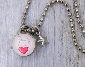 Bunny Charm, Valentine charm, children's jewelry, girls pendant, girls bracelet,kids jewelry, kids accessories, photo jewelry