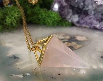 Rose Quartz Necklace |Gold Gemstone Necklace | Rose Quartz Pendulum Necklace | quartz Necklace | Long Crystal Necklace | Boho Necklace