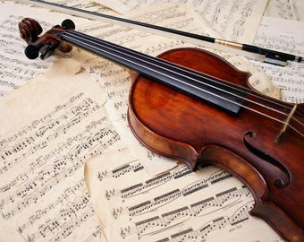 Laminated placemat sheet music and violin