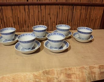 Chinese Blue and White Porcelain Rice Pattern Set of 6 Tea Cups and Saucers