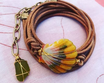 Hawaiian sunrise shell, wire wrapped, leather/suede wrap bracelet Olive Green Seaglass, gypsy/hippie/boho style