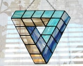 Custom Made Giant Impossible Geometry Penrose Triangle Stained Glass Suncatcher in Purple, Turquoise, and Grey