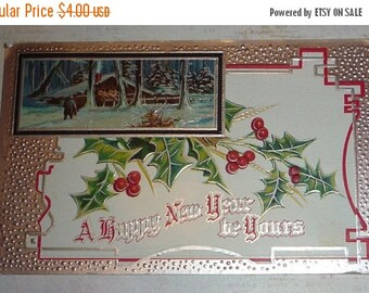 ON SALE Scene With Holly And Silver Art Nouveau New Year Postcard