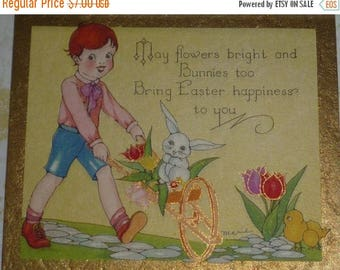 ON SALE Boy Pushing Cart of Tulips and White Bunny Rabbit Vintage Art Deco Easter Greeting Card