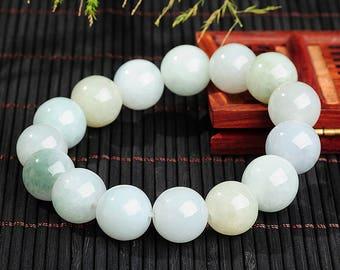 Jadeite Jade Bead Bracelet - 13mm (Grade A) Certified