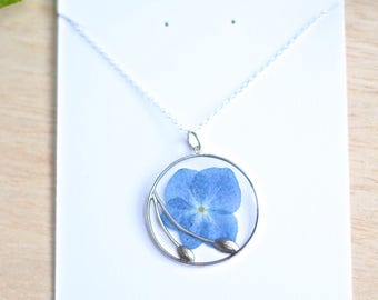 Blue Hydrangea Necklace pressed flower jewelry